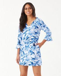 Indigo Garden Split-Neck Dress