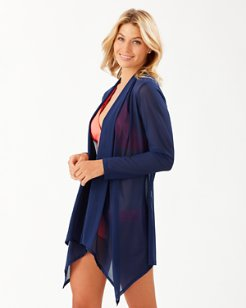 Long-Sleeve Mesh Cardigan
