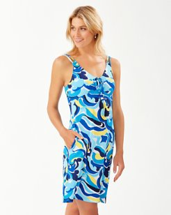 Swirl Tide Double-Strap V-Neck Dress
