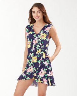 Sun Lilies Faux-Wrap Dress
