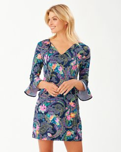 Sun Lilies Split-Neck Dress