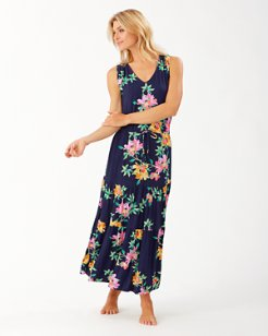 Sun Lilies V-Neck Tiered Dress