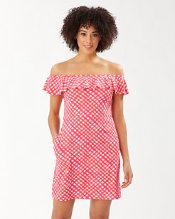 Harbour Island Gingham Off-the-Shoulder Ruffle Dress