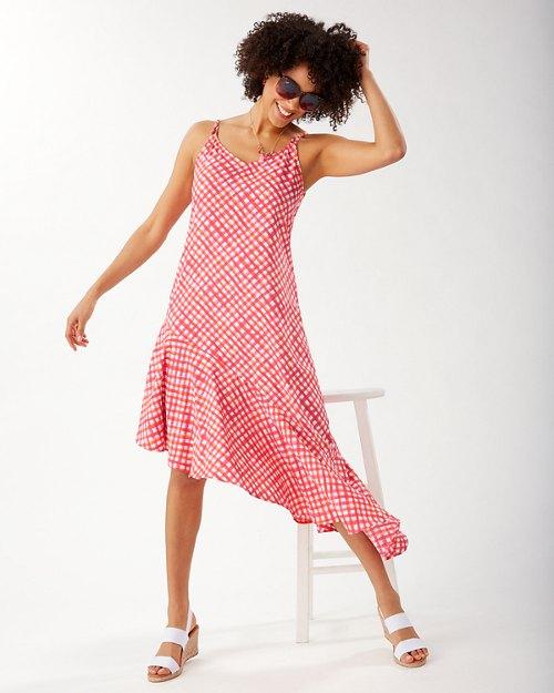 Harbour Island Gingham Asymmetrical Ruffle Dress