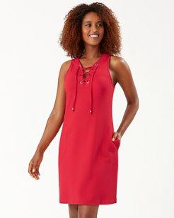 Piqué Colada Lace-Up Dress