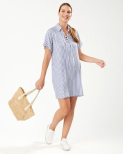Chambray Stripe Lace-Up Shirt Dress