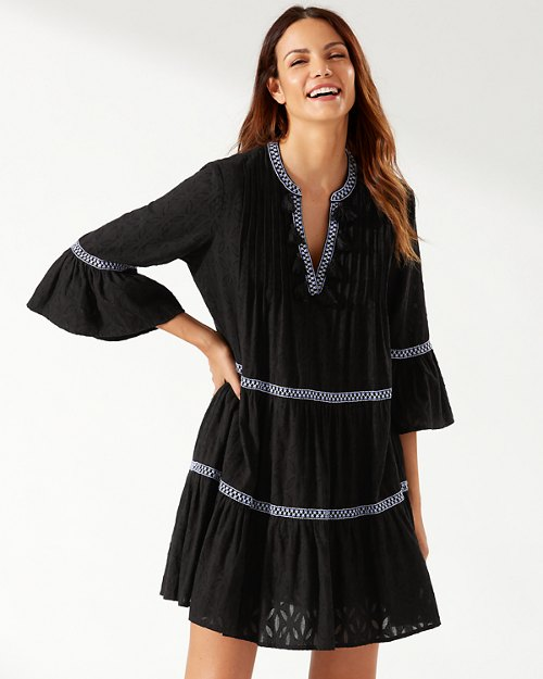 Cotton Clip Embroidered Tier Dress