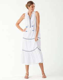 Cotton Clip Embroidered Split-Neck Dress