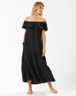 St Lucia Off-the-Shoulder Tier Maxi Dress