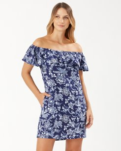 Delft Floral Off-the-Shoulder Ruffle Dress