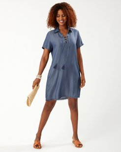 Chambray Lace-Up Shirt Dress