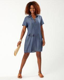 Chambray Lace-Up Shirt Dress