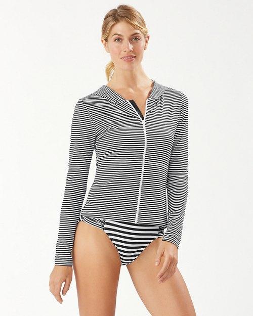 Breaker Bay Stripe Hooded Long-Sleeve Rash Guard