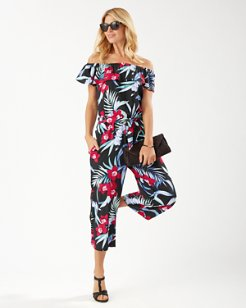 Midnight Orchid Off-the-Shoulder Cropped Jumpsuit