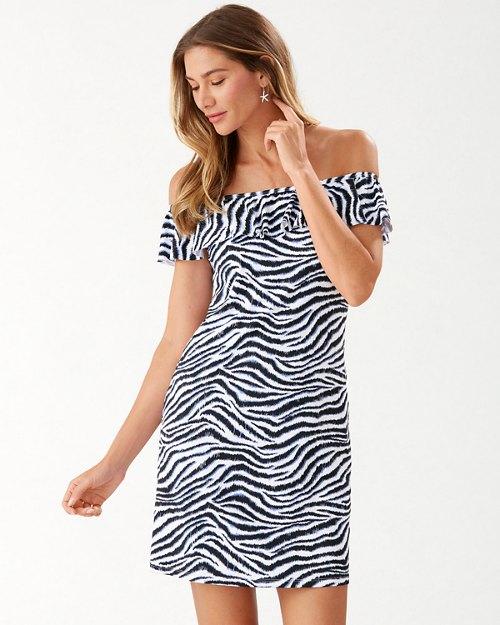 Zanzibar Zebra Off-the-Shoulder Dress