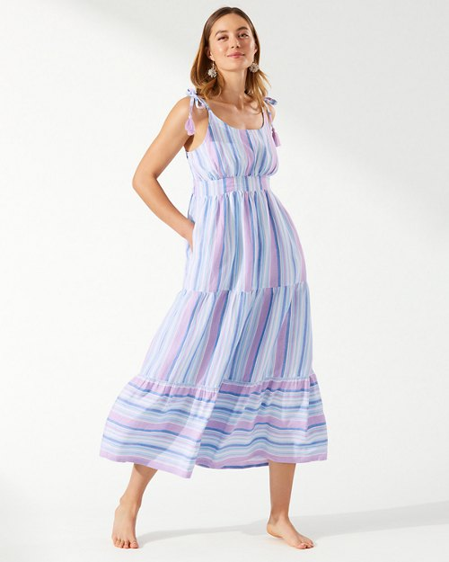 St. Lucia Linen-Blend Tiered Maxi Dress