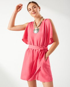 St. Lucia Linen-Blend Split-Shoulder Dress