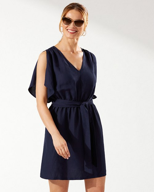 St. Lucia Linen-Blend Split-Shoulder Dress