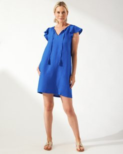 St. Lucia Linen- Blend Flounce Sleeve Dress