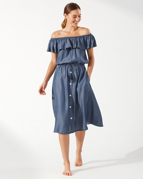 Chambray Off-the-Shoulder Midi Dress