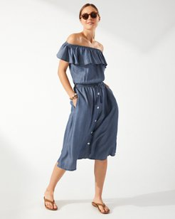 Chambray Off-the-Shoulder Midi Dress