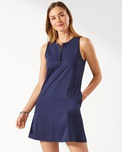 Pearl Half-Zip A-Line Dress