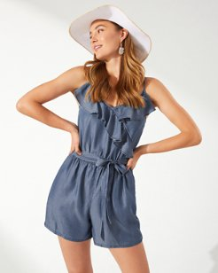 Chambray Ruffled Wrap Romper