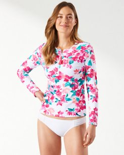 Bougainvillea Half-Zip Long-Sleeve Rash Guard