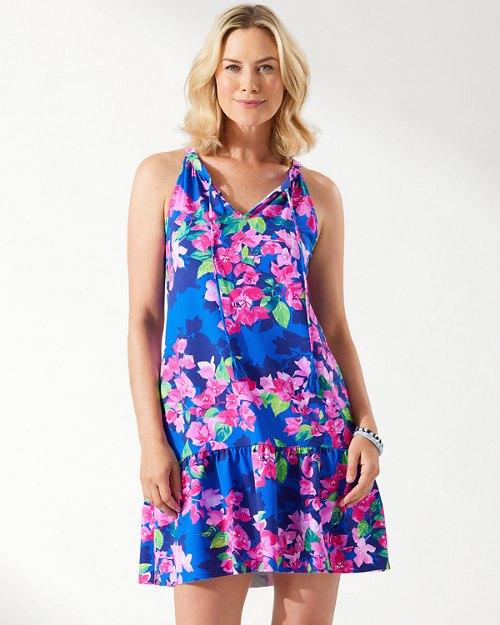 Bougainvillea Split-Neck Ruffled Dress