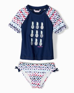 Baby Pineapple Ikat Rash Guard Set