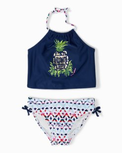 Little Girls' Pineapple Ikat Cropped Tankini Set