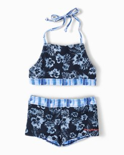 Little Girls' Reversible Chambray Blossoms Cropped Tankini Set