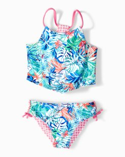 Little Girls' Reversible Palm Party Tankini Set