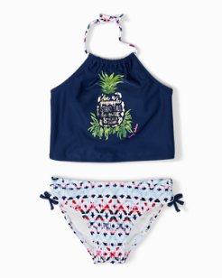 Big Girls' Pineapple Ikat Cropped Tankini Set