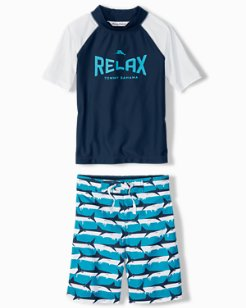 Little Boys' Shark Serenity Rash Guard Set