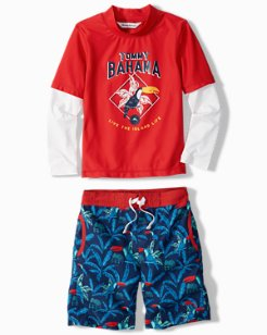 Little Boys' Toucan Retreat Rash Guard Set
