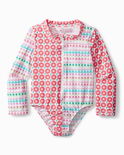 Baby Mixed Floral One-Piece Rash Guard Swimsuit