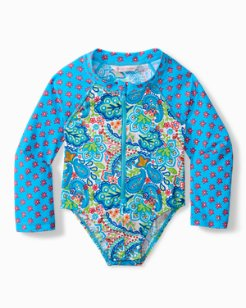 Baby Paisley One-Piece Rash Guard Swimsuit