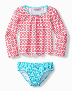 Toddler Mixed Floral Rash Guard Swim Set