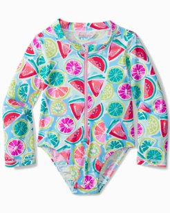 Toddler Mixed Fruit One-Piece Rash Guard Swimsuit