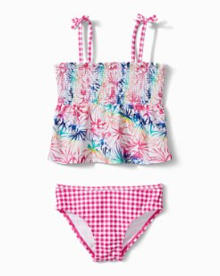 Toddler  Rainbow Fronds Halter Tankini Set