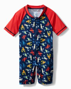 Toddler One-Piece Rash Guard With Lobster Print