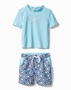 Toddler Kaleidoscope Cay Rash Guard Set