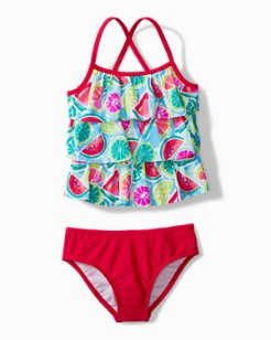 Little Girls' Mixed Fruit Tankini Swim Set