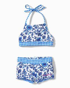 Little Girls' Woodblock Tankini Set