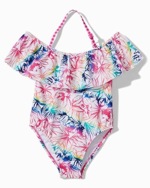 Little Girls' Rainbow Fronds One-Piece Swimsuit