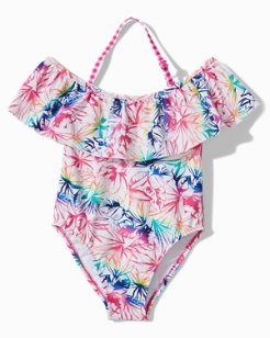Little Girls' Rainbow Fronds One-Piece Swimsuit