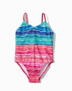 Little Girls' Sunkissed Tropics Stripe One-Piece Swimsuit