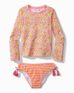Big Girls' Geo Rash Guard Swim Set