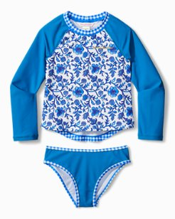 Big Girls' Woodblock Rash Guard Set